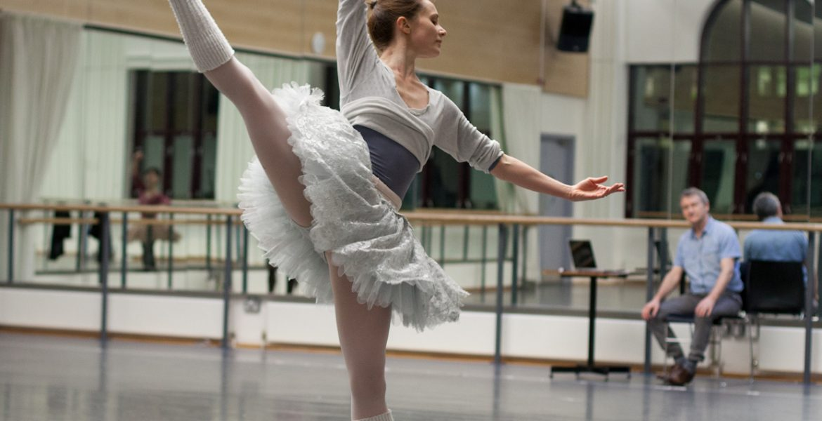 Cinderella in rehearsal: David Bintley with Jenna Roberts. Photo by Ty Singleton