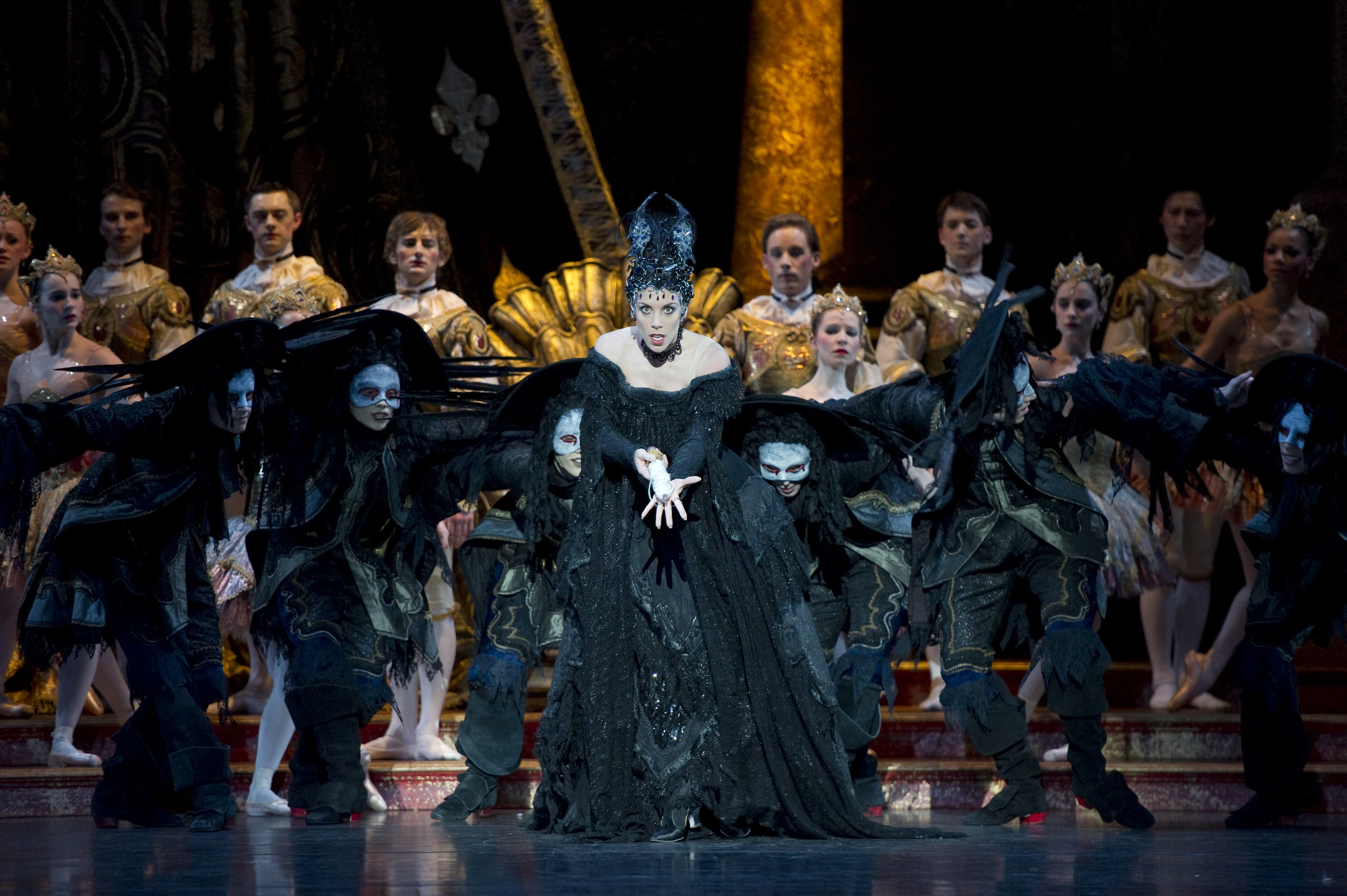 The Sleeping Beauty: Victoria Marr as Carabosse with Artists of Birmingham Royal Ballet. Photo by Bill Cooper