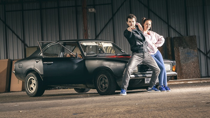 Grease Denny Haywood takes on the role of Danny from the iconic film Grease with T girl support from Samantha Gibson. Photographer Sean Goldthorpe