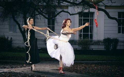 The Red Shoes Welly O'Brien as Vicky Page, longing to be a ballerina in the beautiful film The Red Shoes, with Leicester college student Chloe Corkett. Photographer Sean Goldthorpe