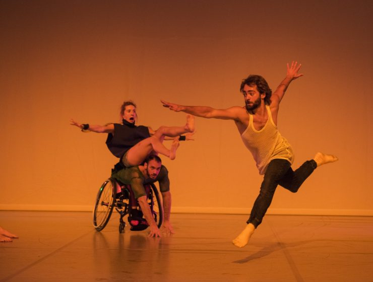 Olivia Edginton, Joel Brown, Nicolas Vendange (Candoco Dance Company Face In by Yasmeen Godder) Photo by Hugo Glendinning
