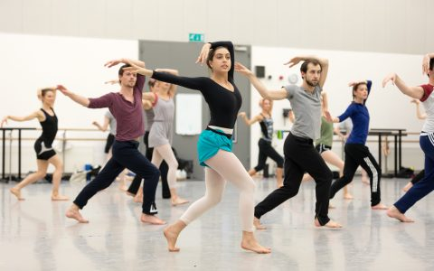 (L-R) SCOTTISH BALLET dancers rehearse Matthew Bourne's Highland Fling