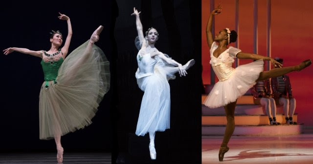 Dutch National Ballet, left to right: Qian Liu in Jewels (photo Angela Sterling), Sasha Mukhamedov in Giselle (photo Angela Sterling), Michaela DePrince in Coppelia (photo Marc Haegeman)