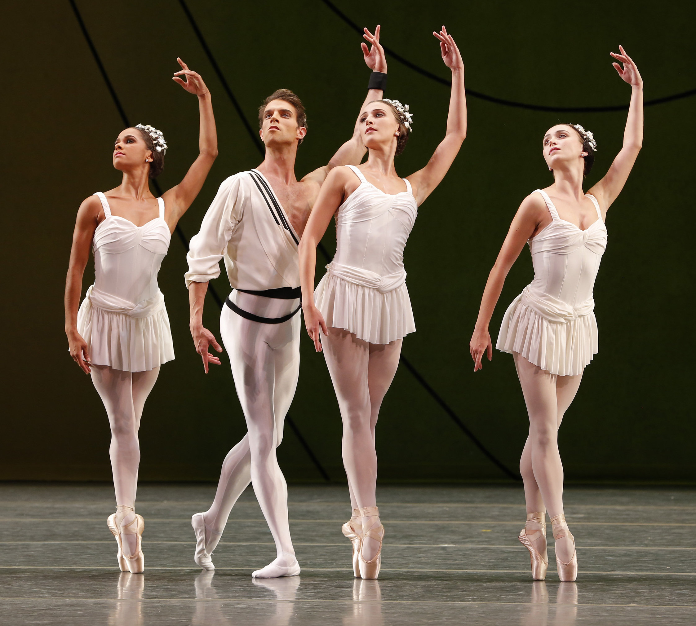 Misty Copeland, James Whiteside, Devon Teuscher and Skylar Brandt in Symphonic Variations. Photo: Marty Sohl.