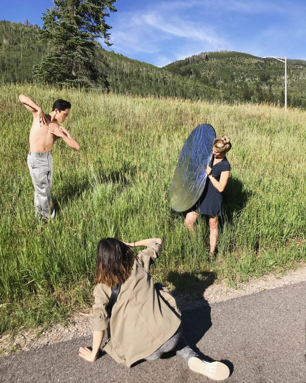 jeffrey Cirio (with photographer Erin Baiano and Kirsten Evans holding the reflector)